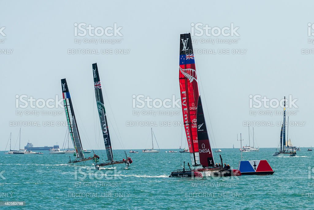 Team Emirates, Land Rover BAR, and Groupama America's Cup boats stock photo