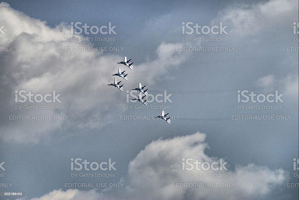 Team flight of su-27 stock photo