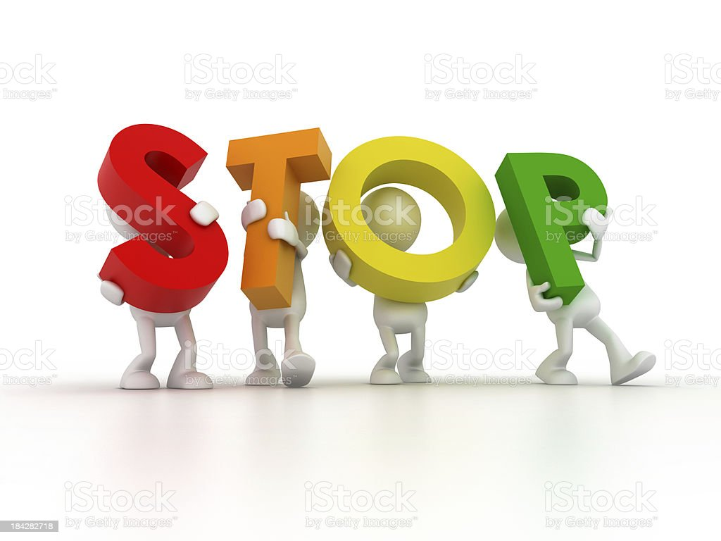 Team forming STOP word royalty-free stock photo