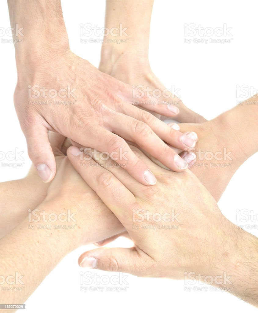 Team hands touching alltogether stock photo