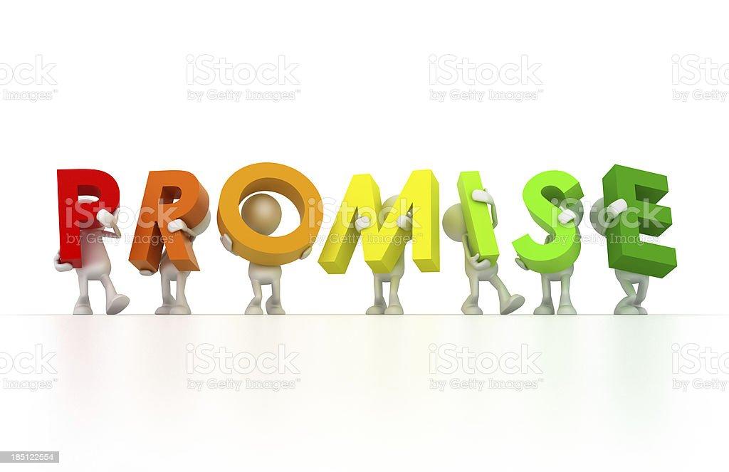 Team holding Promise word stock photo