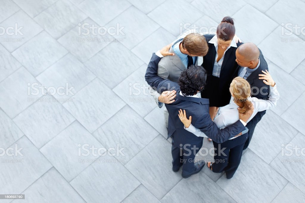 Team huddle before the big leagues stock photo