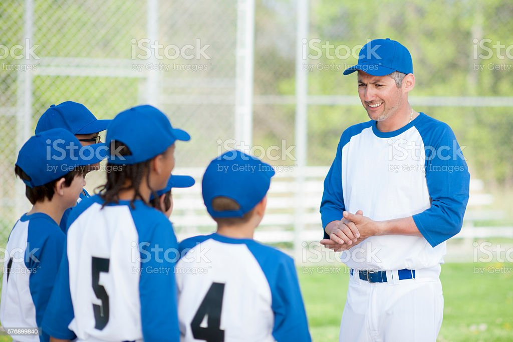 Team Huddle Before the Game stock photo