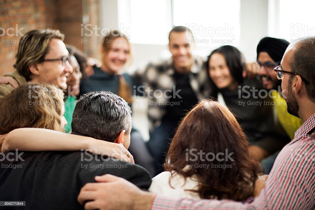 Team Huddle Harmony Togetherness Happiness Concept stock photo