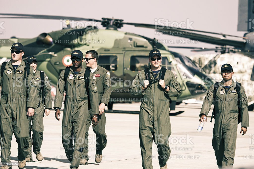 USAF C-17 Team in Aero India 2013 stock photo