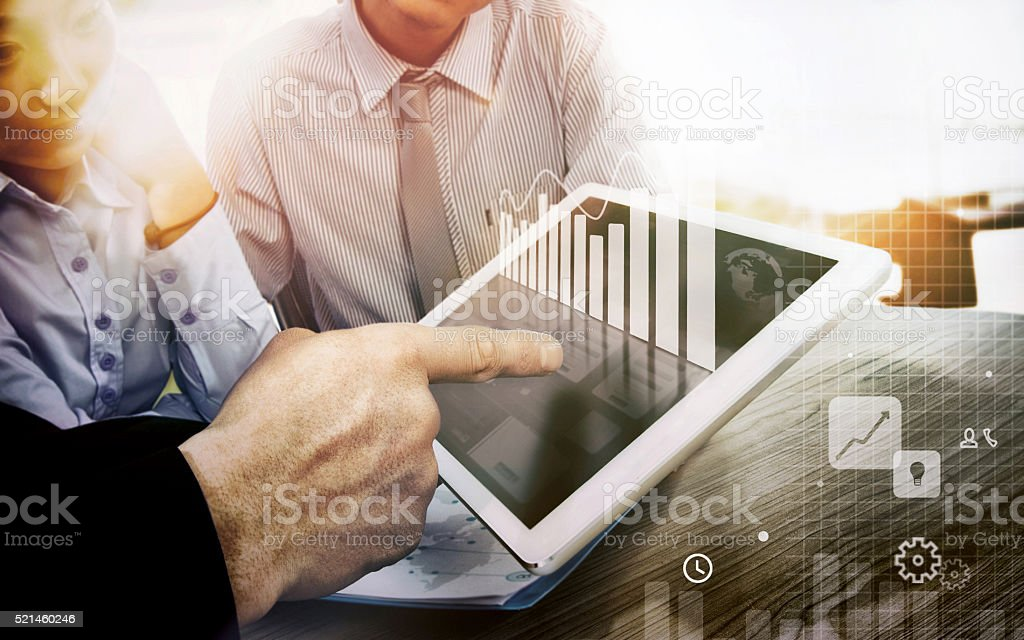 Team job.Use the computer work in the office. stock photo