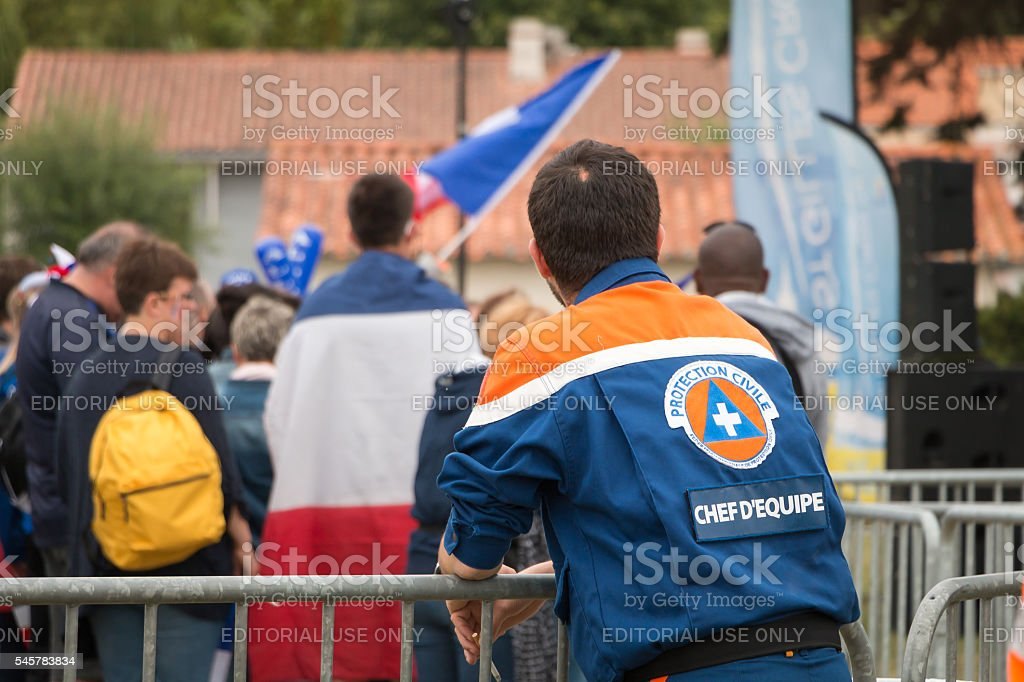 team leader of the civil protection that monitors the public stock photo