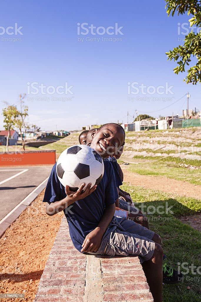 Team Mates chilling together, Gugulethu, Cape Town royalty-free stock photo