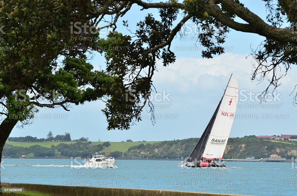 Team New Zealand yacht sails in Auckland harbour stock photo