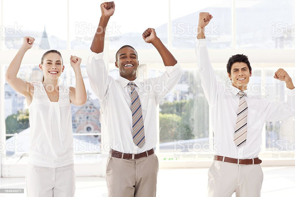 Team of Business People Cheering royalty-free stock photo