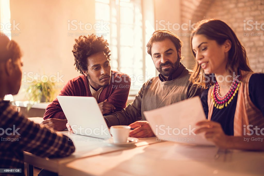 Team of business people making a decision about potential candidate. stock photo