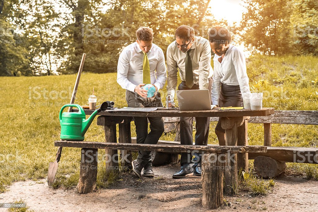 Team of business people working on a project in nature. stock photo