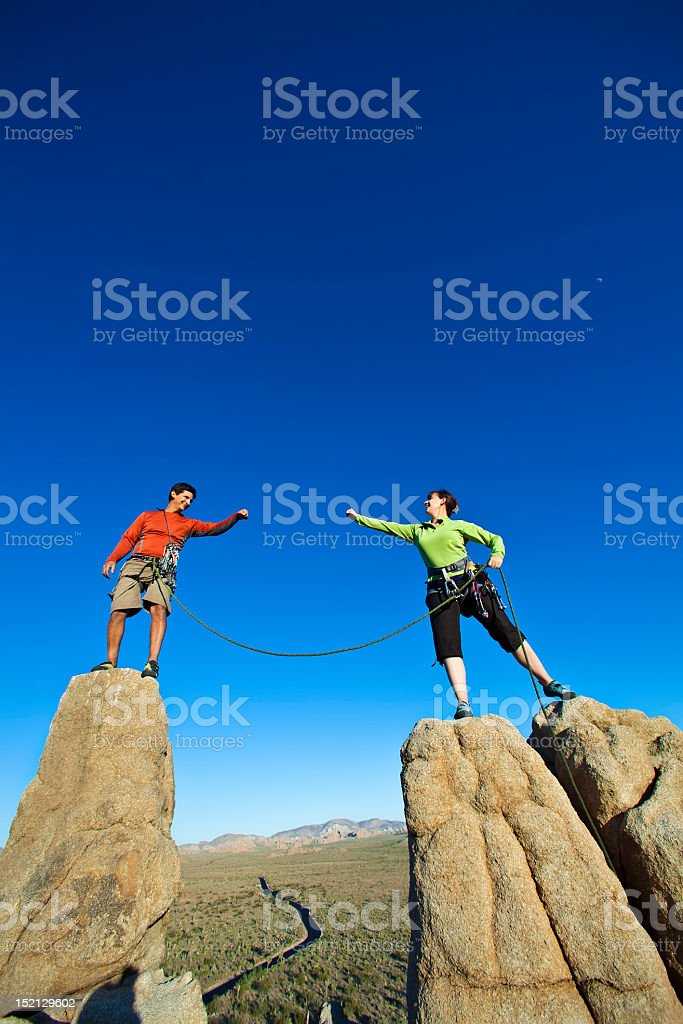 Team of climbers on the summit. royalty-free stock photo