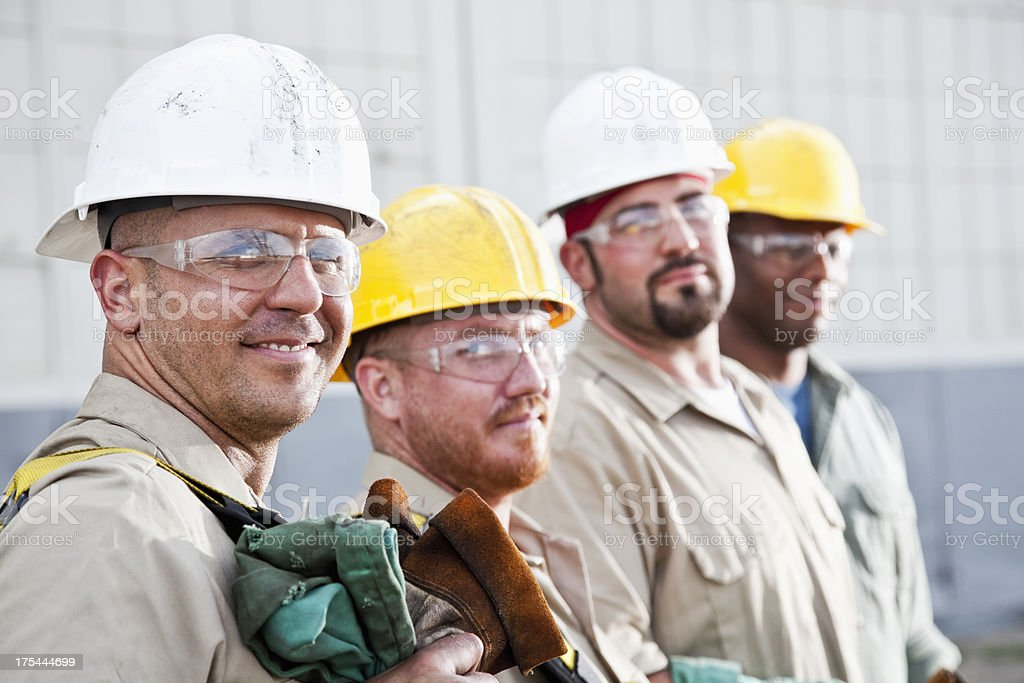 Team of construction workers royalty-free stock photo