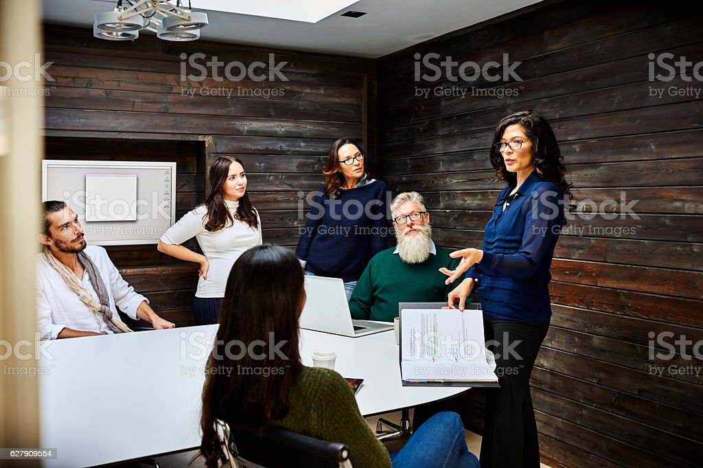 Team of corporate business associates in meeting stock photo