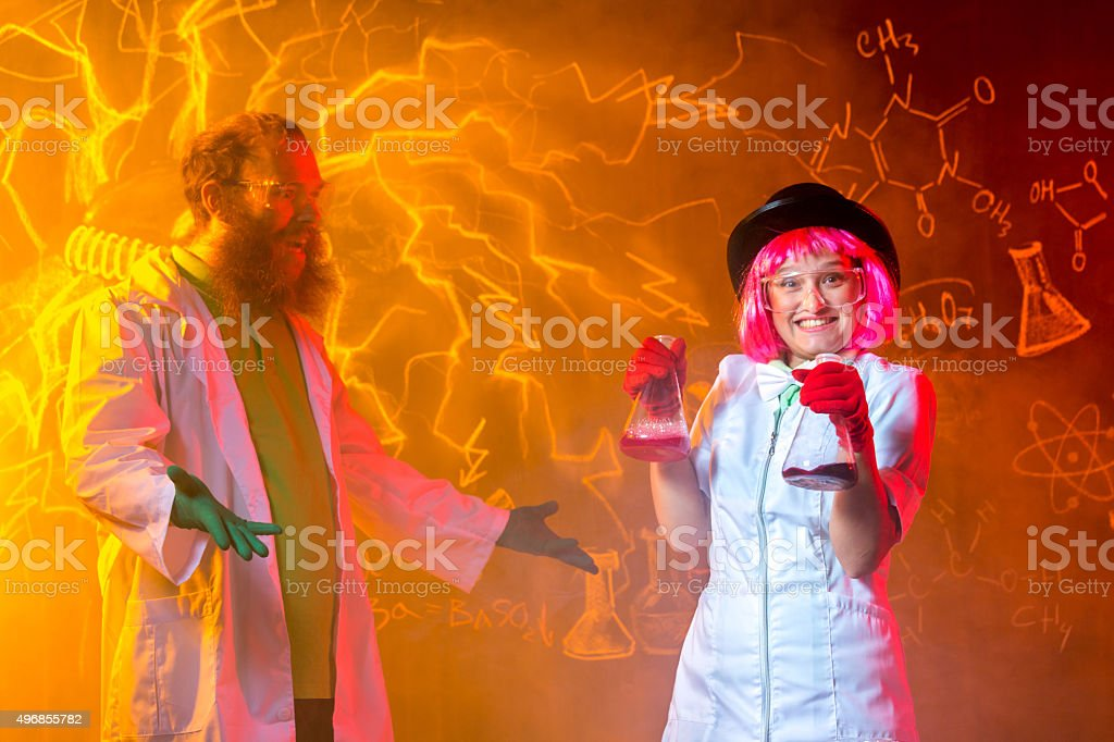 Team Of Crazy Scientists stock photo