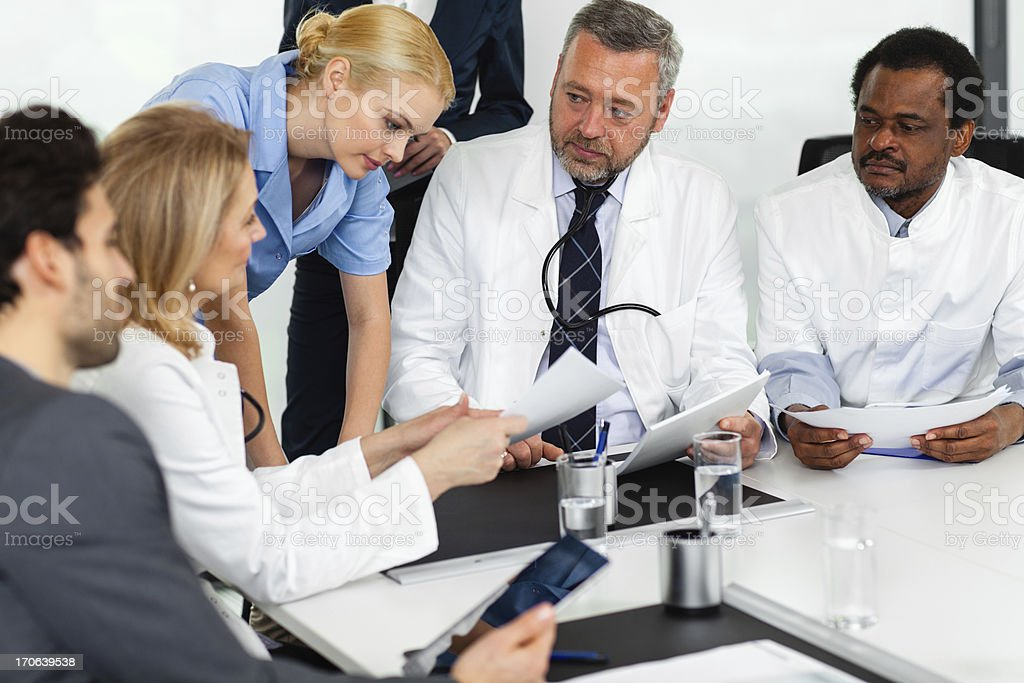 Team of doctors on a meeting royalty-free stock photo