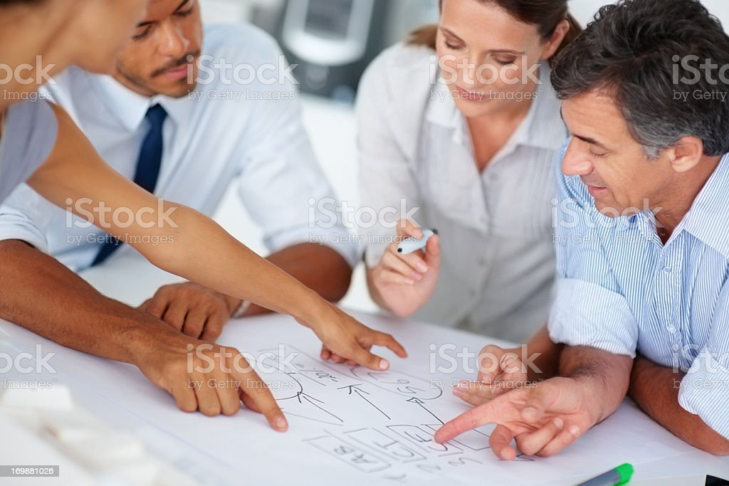 Team of editors discussing plans for their magazine stock photo
