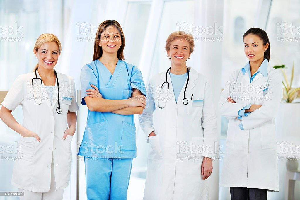 Team of female doctors. royalty-free stock photo