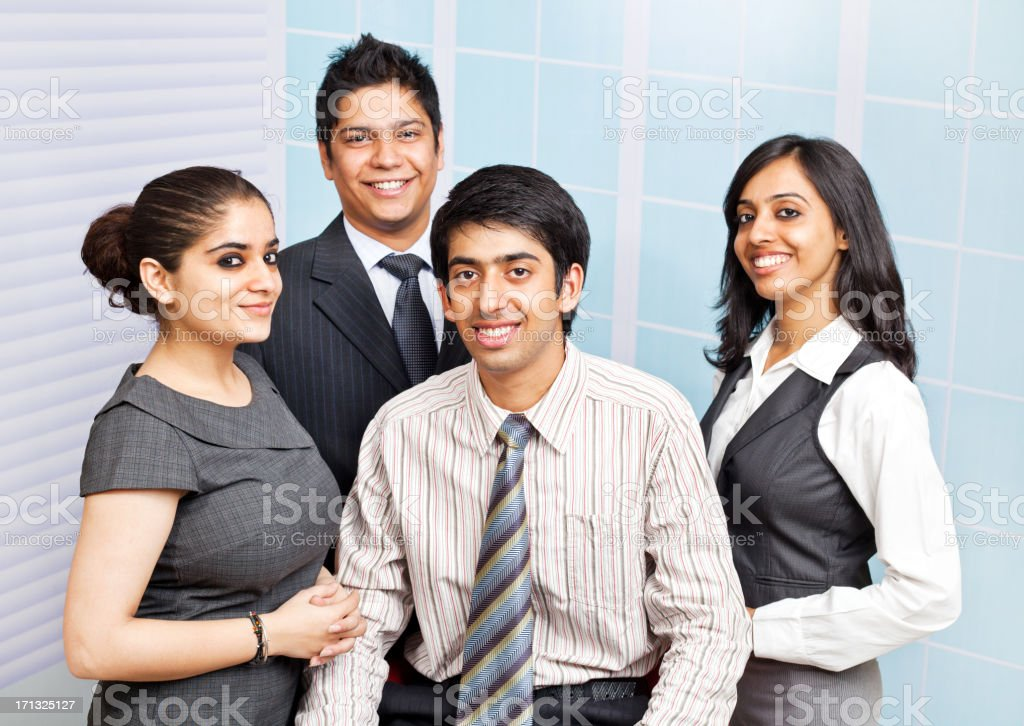 Team of Four Confident Cheerful Indian Business People Person royalty-free stock photo