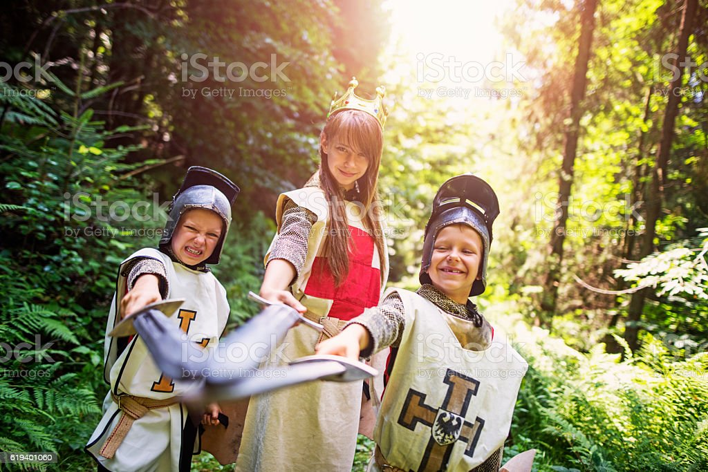 Team of knights in forest stock photo