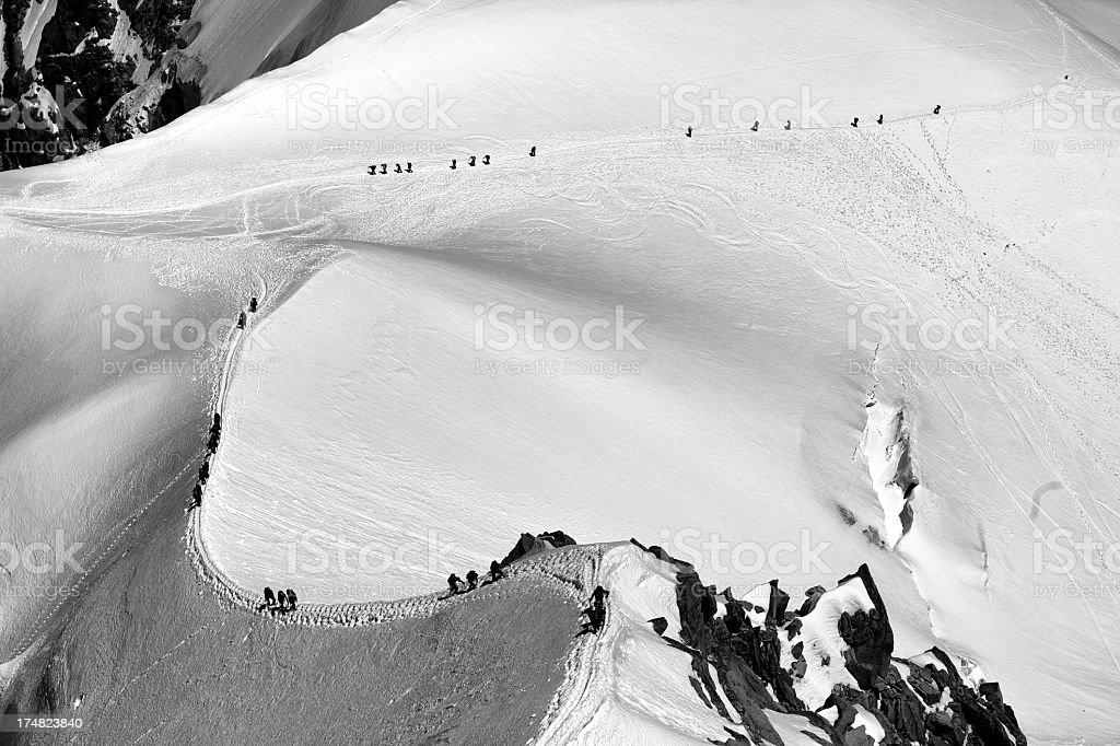 Team of mountaineers stock photo