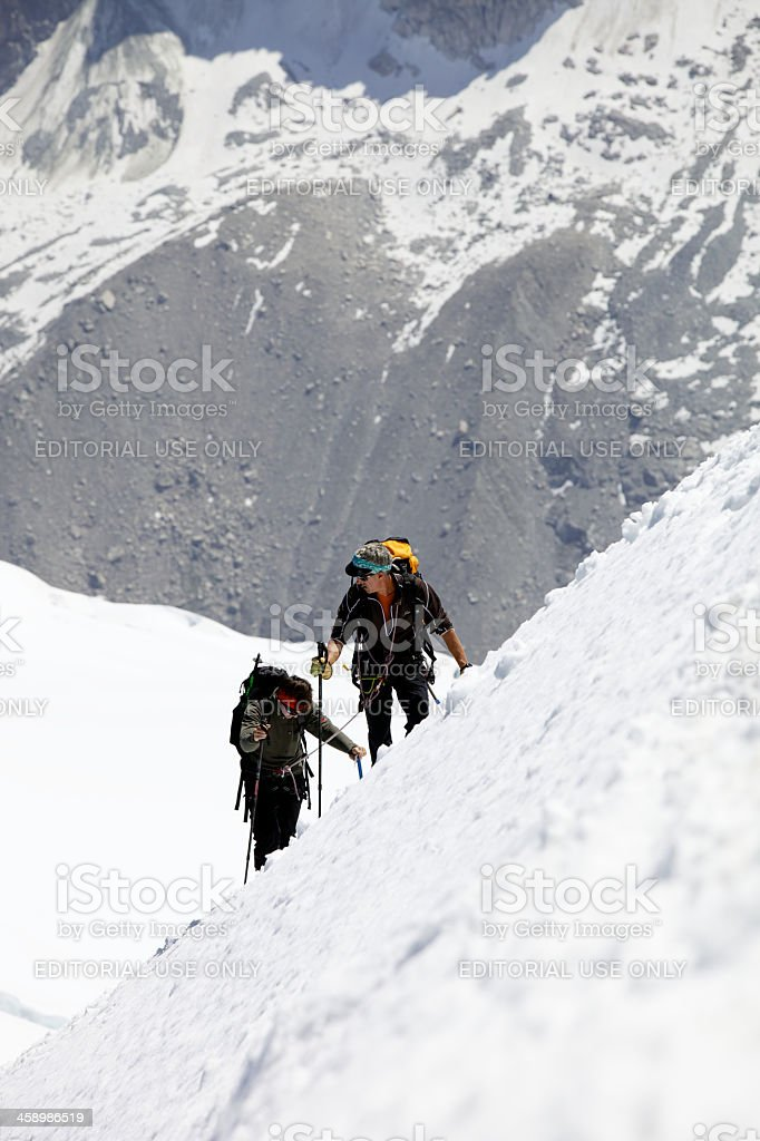 Team of mountaineers royalty-free stock photo