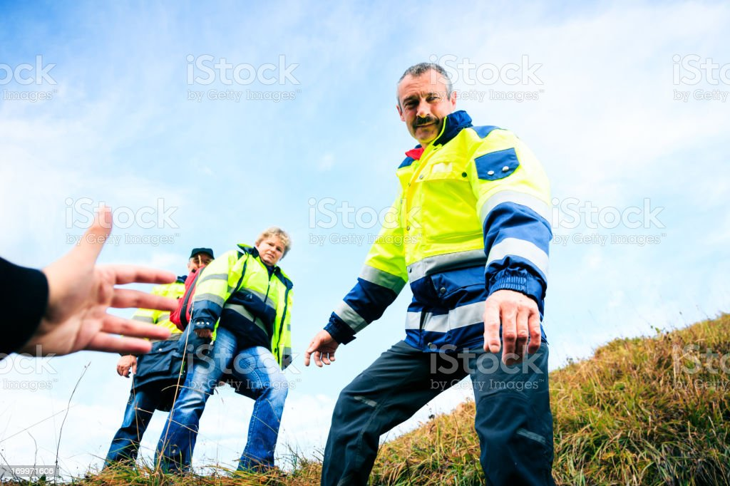team of paramedics stock photo