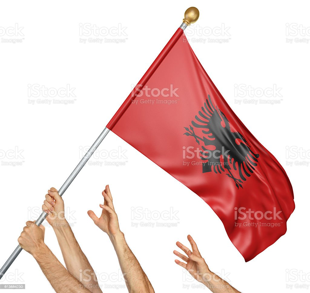Team of peoples hands raising the Albania national flag stock photo