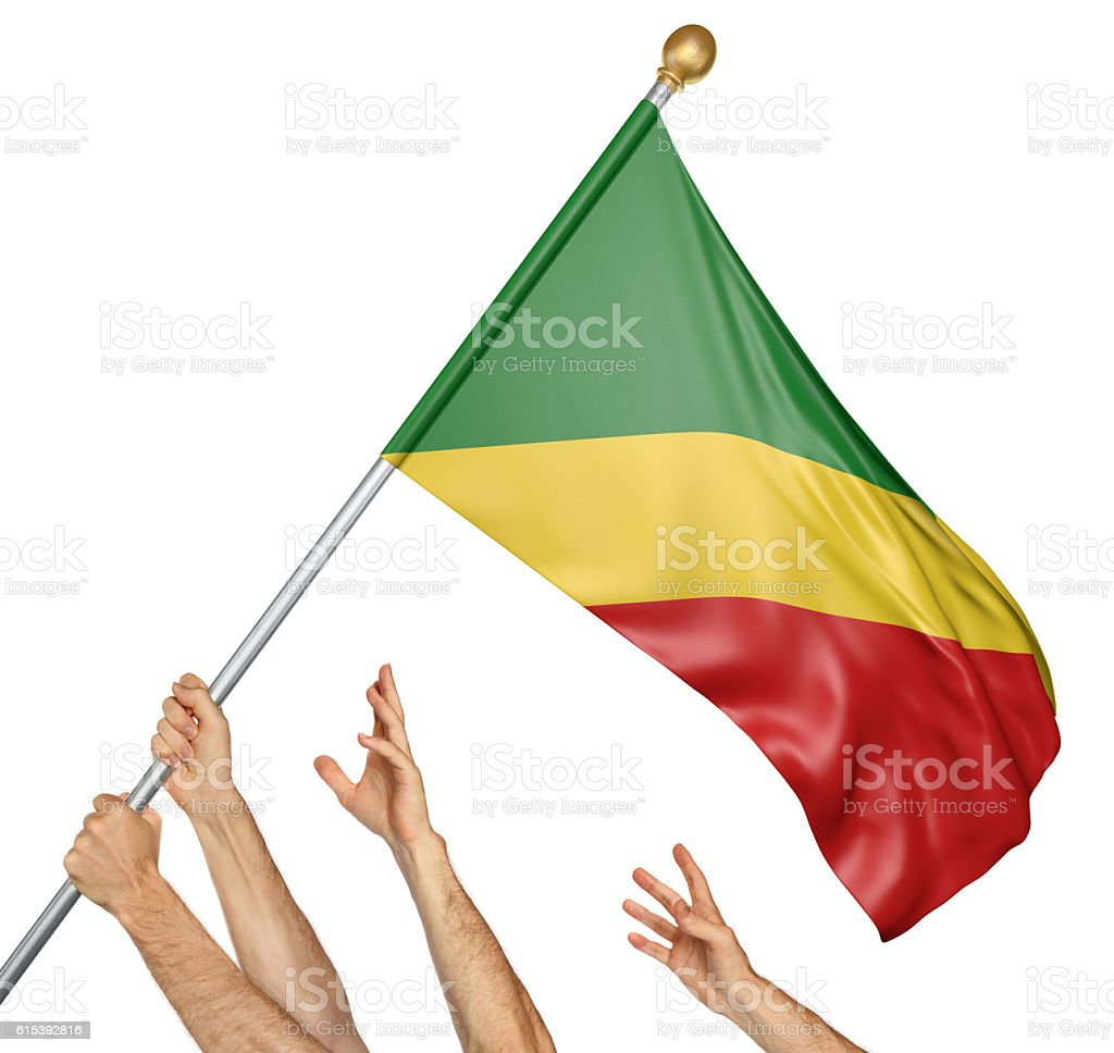 Team of peoples hands raising the Congo Republic national flag stock photo