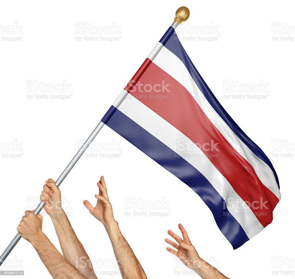 Team of peoples hands raising the Costa Rica national flag stock photo