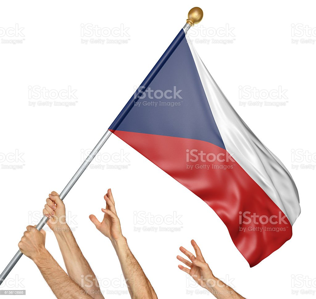 Team of peoples hands raising the Czech Republic national flag stock photo