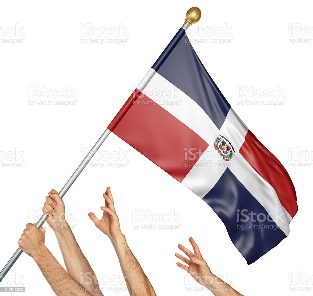 Team of peoples hands raising the Dominican Republic national flag stock photo