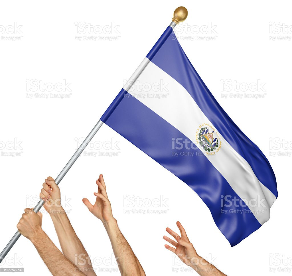 Team of peoples hands raising the El Salvador national flag stock photo