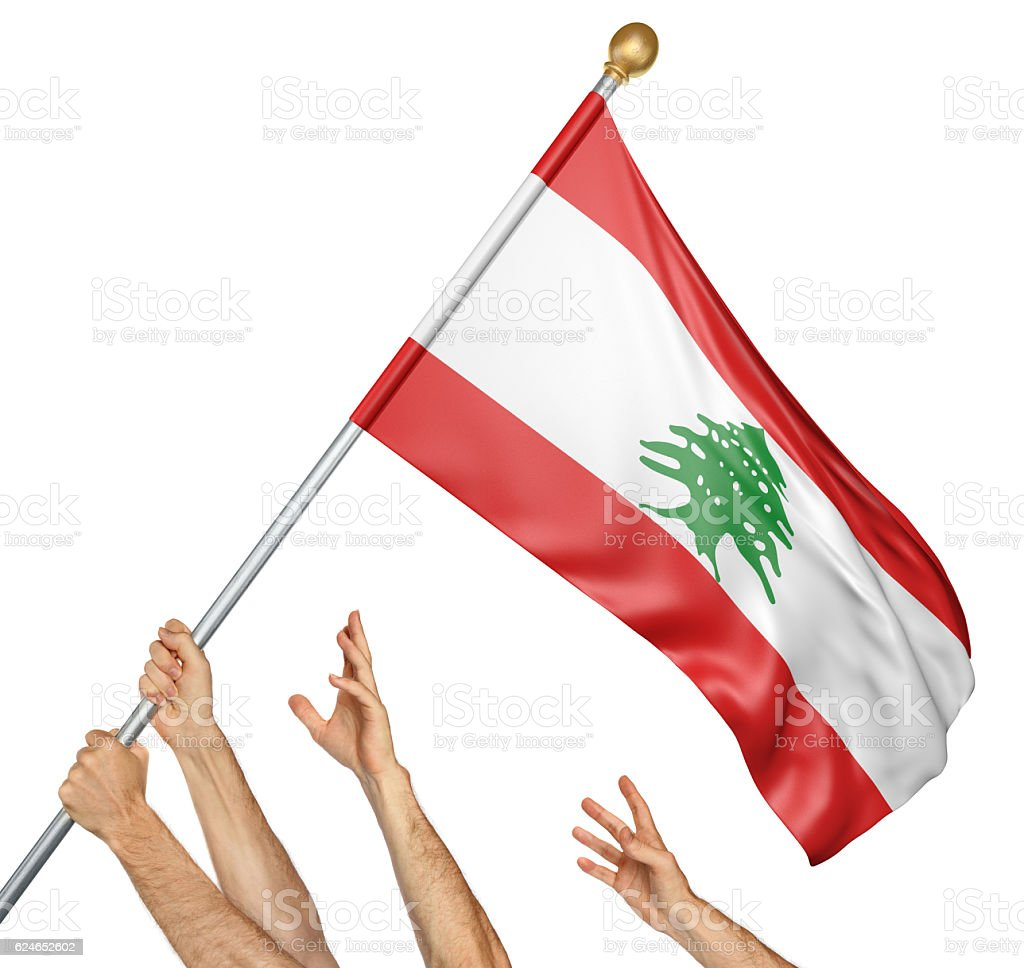 Team of peoples hands raising the Lebanon national flag stock photo