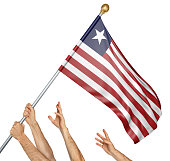 Team of peoples hands raising the Liberia national flag