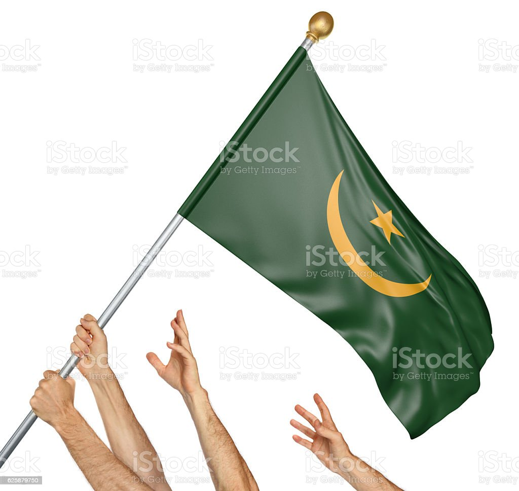 Team of peoples hands raising the Mauritania national flag stock photo