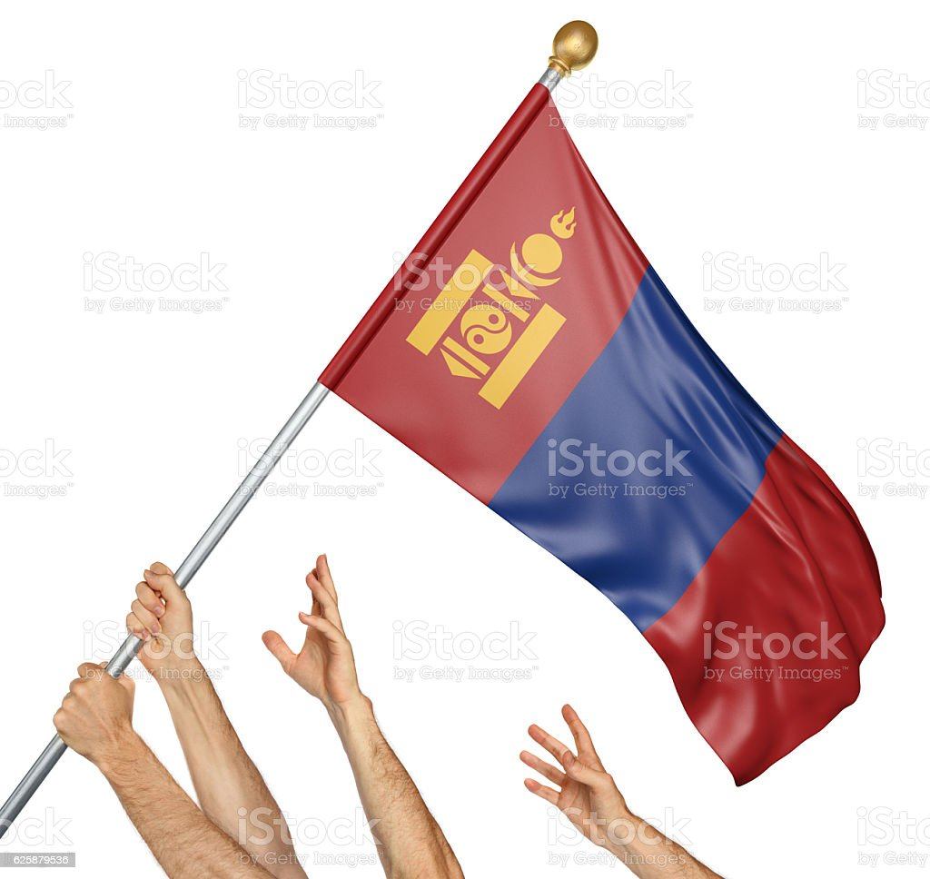 Team of peoples hands raising the Mongolia national flag stock photo