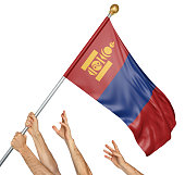 Team of peoples hands raising the Mongolia national flag