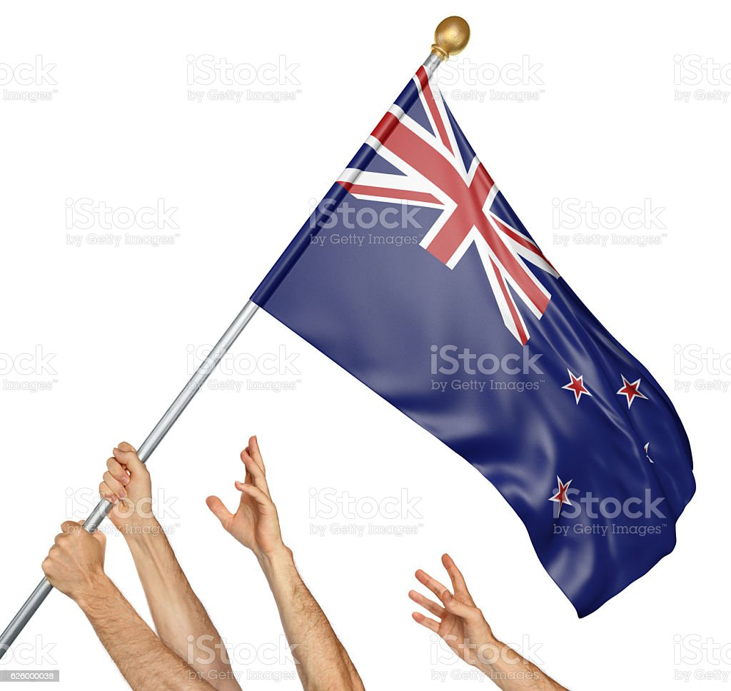 Team of peoples hands raising the New Zealand national flag stock photo