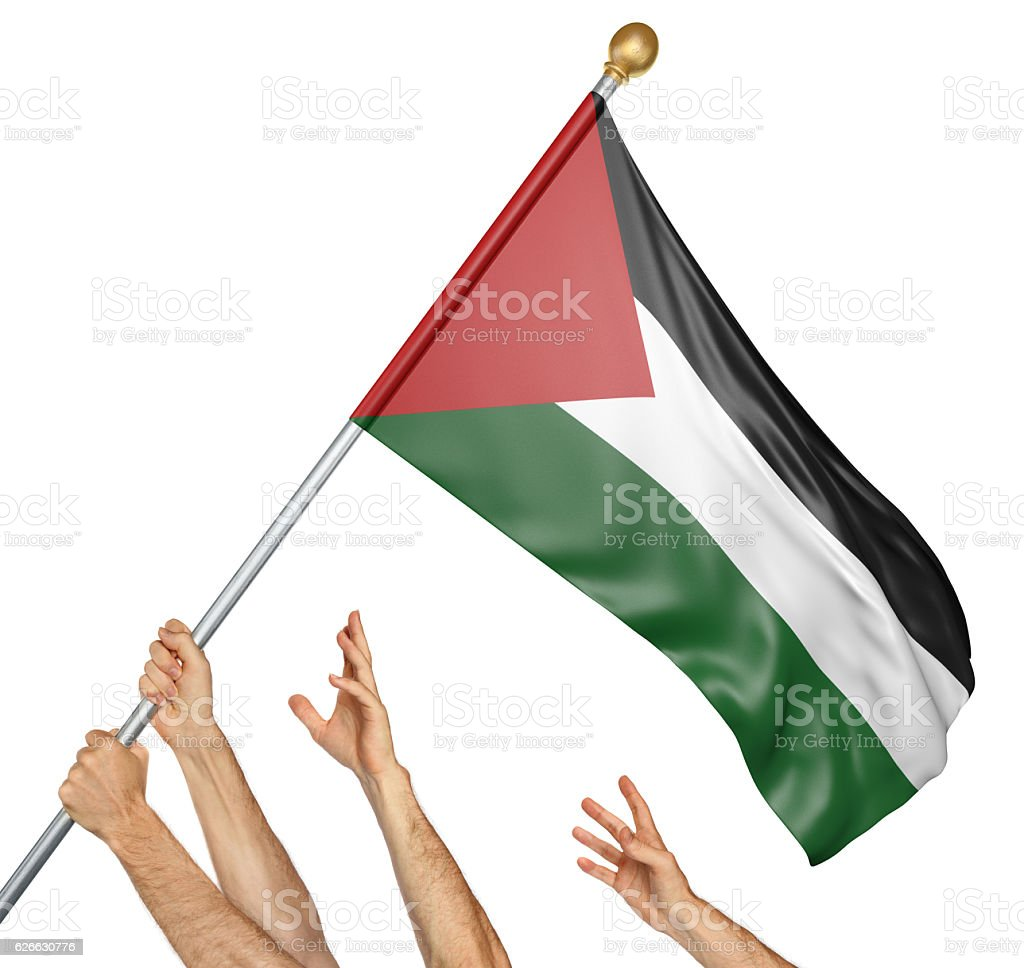 Team of peoples hands raising the Palestine national flag stock photo