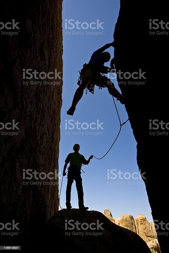 Team of rock climbers. royalty-free stock photo