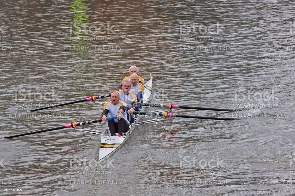 Team of seniors competing in a river race UK stock photo