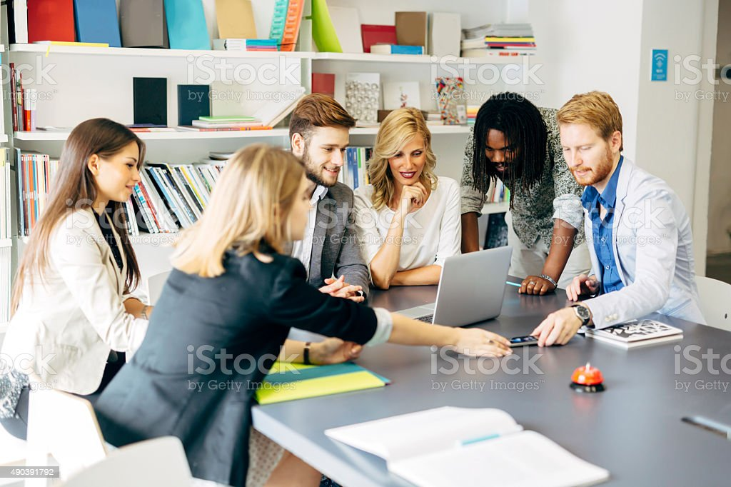 Team of skilled designers and business people stock photo