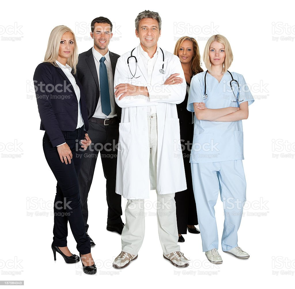 Team of smiling working people isolated over white royalty-free stock photo