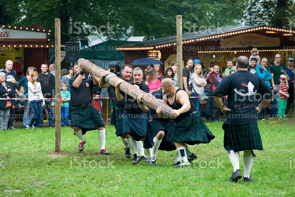 team of strong men athletes at Highland Games in Trebsen stock photo