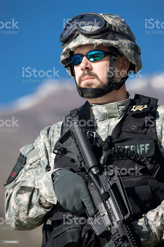 SWAT Team Officer Portrait royalty-free stock photo