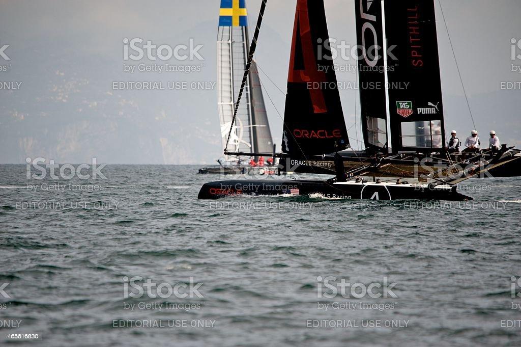 Team Oracle 45 foot America's Cup Catamaran stock photo