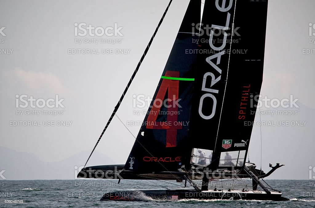 Team Oracle 45 foot America's Cup Catamaran stock photo