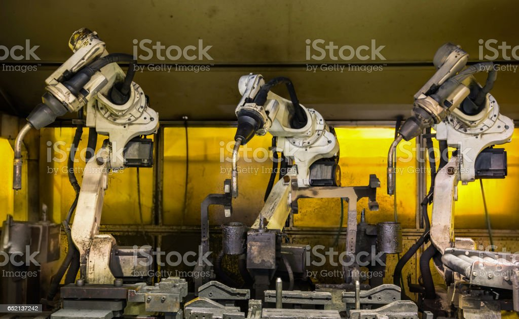 Team robots welding in ready mode with home position stock photo
